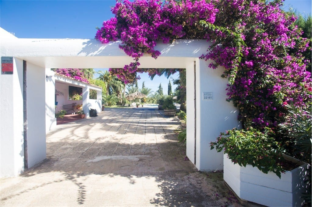 Lovely bougainvillea grows around the entrance at Villa Nieves