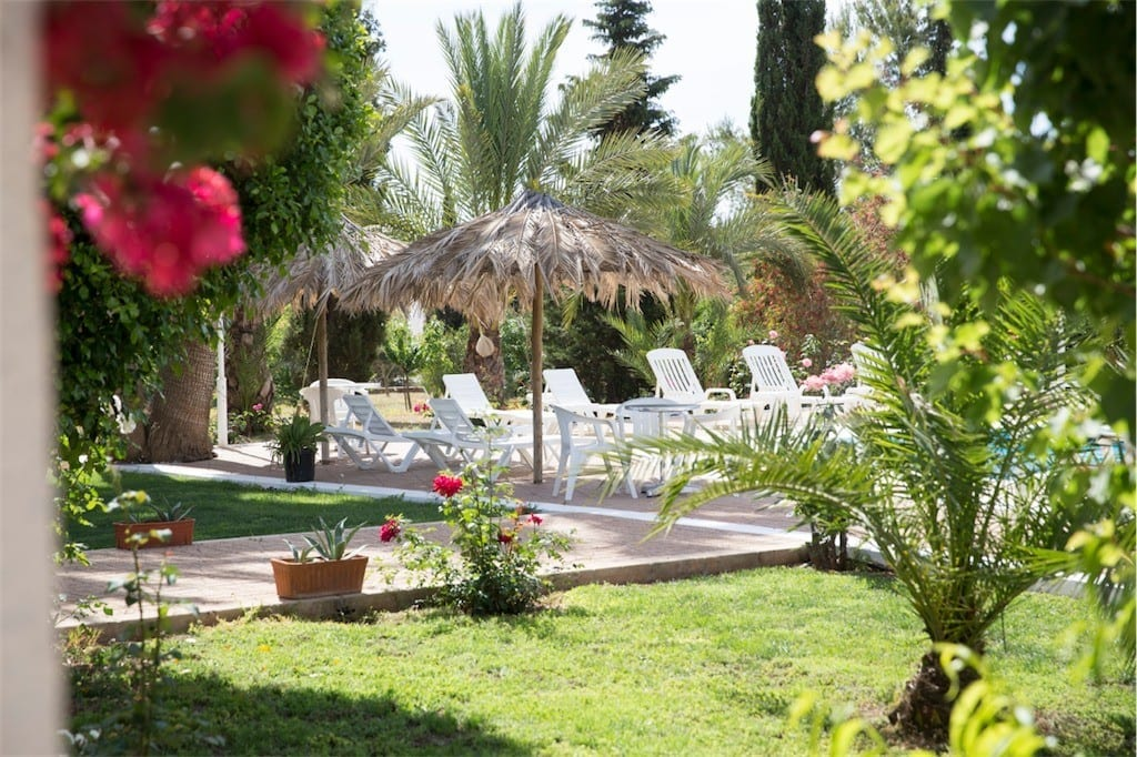 Natural palm leaves create the lovely parasols at Villa Nieves