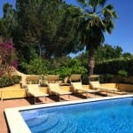 Private pool and sun loungers at Olivos