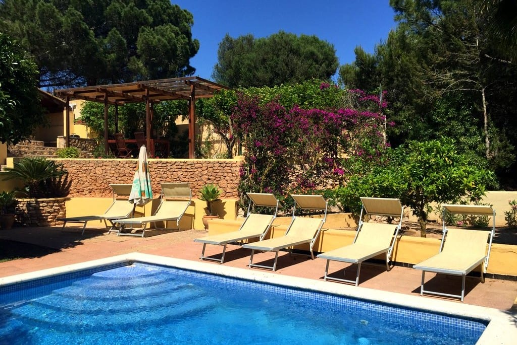 Lovely pool and sun loungers at Olivos