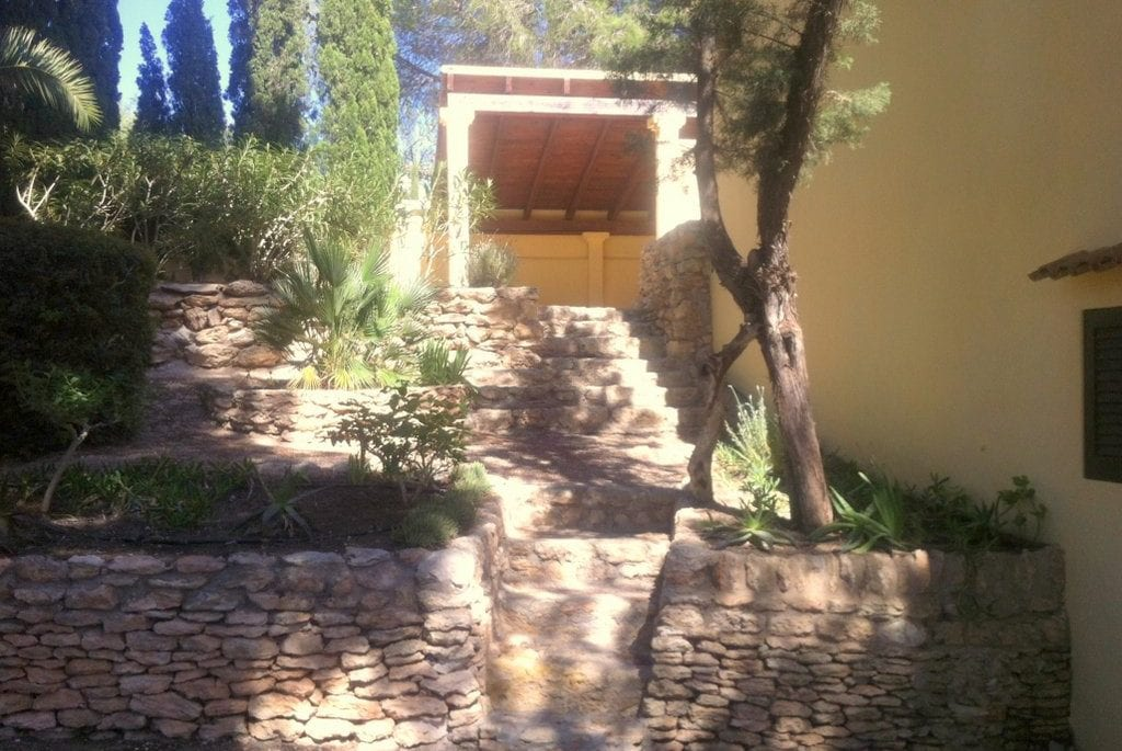Local stone steps leading to terrace