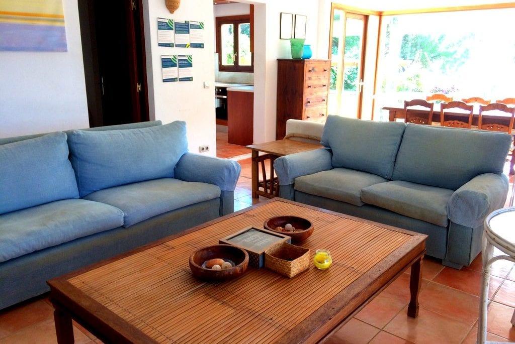 Comfortable sofas in lounge at Villa Los Olivos