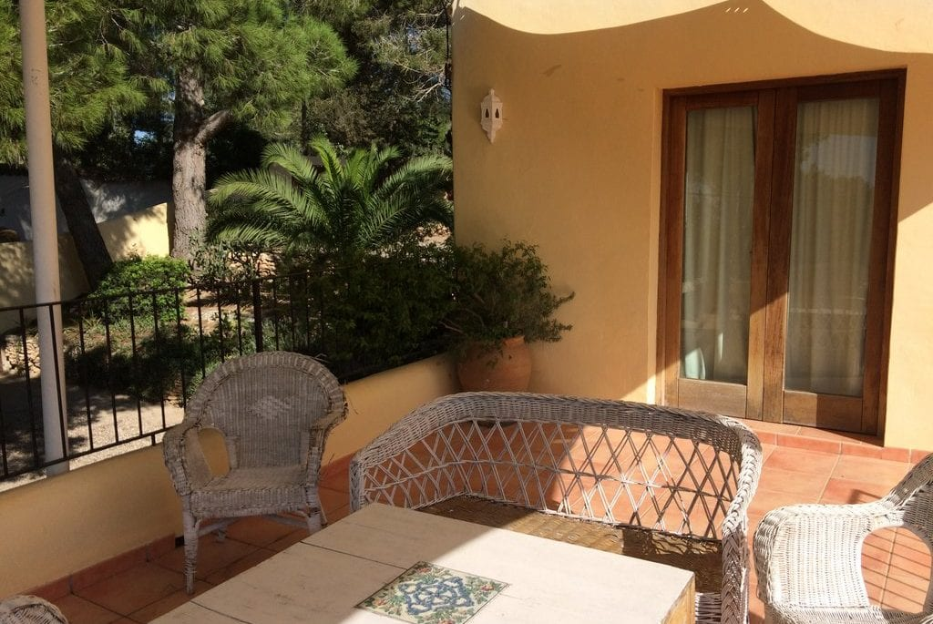 Wicker patio furniture on terrace