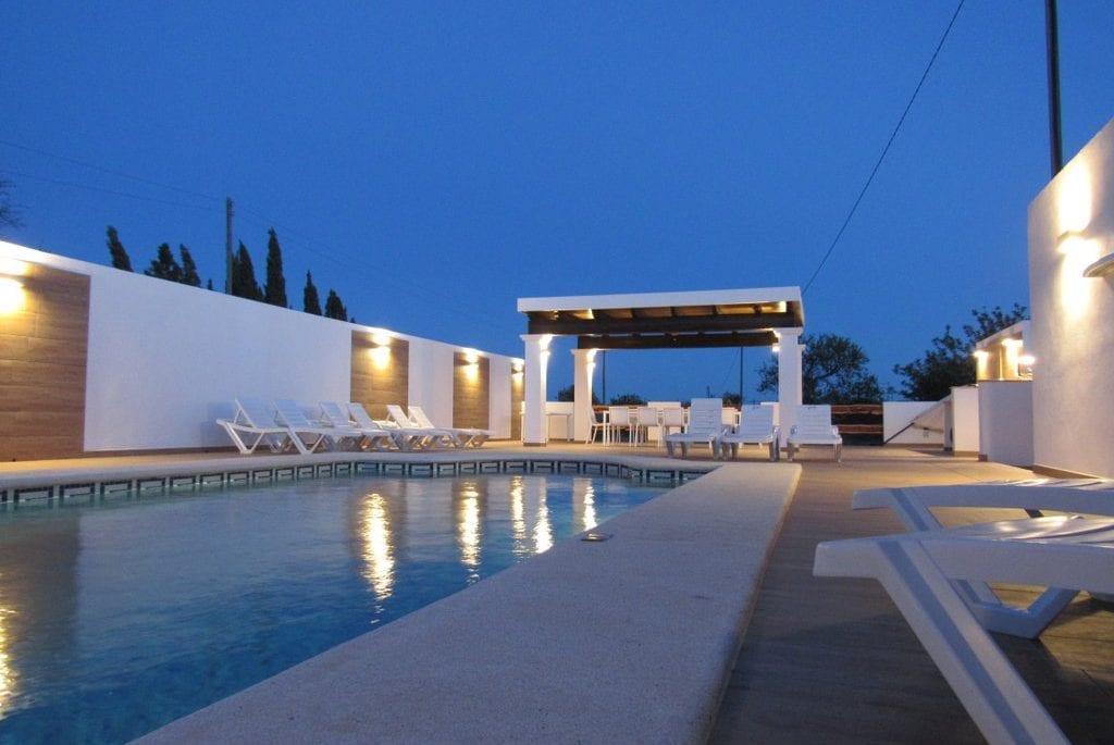 Night shot of pool at Pep Luis