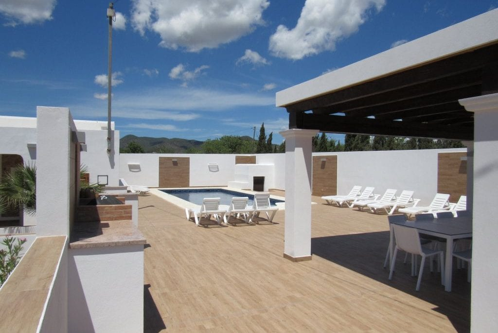 New decking and terraces by pool at Pep Luis