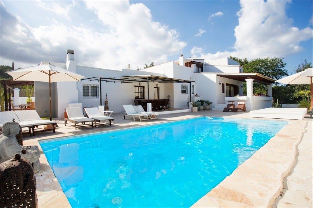 pool and terrace at casa carolle ibiza