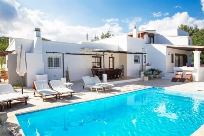 pool and sun loungers at casa carolle ibiza