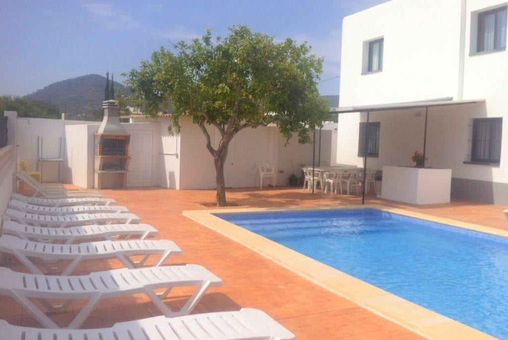 Walled in pool and terrace at Villa Torres