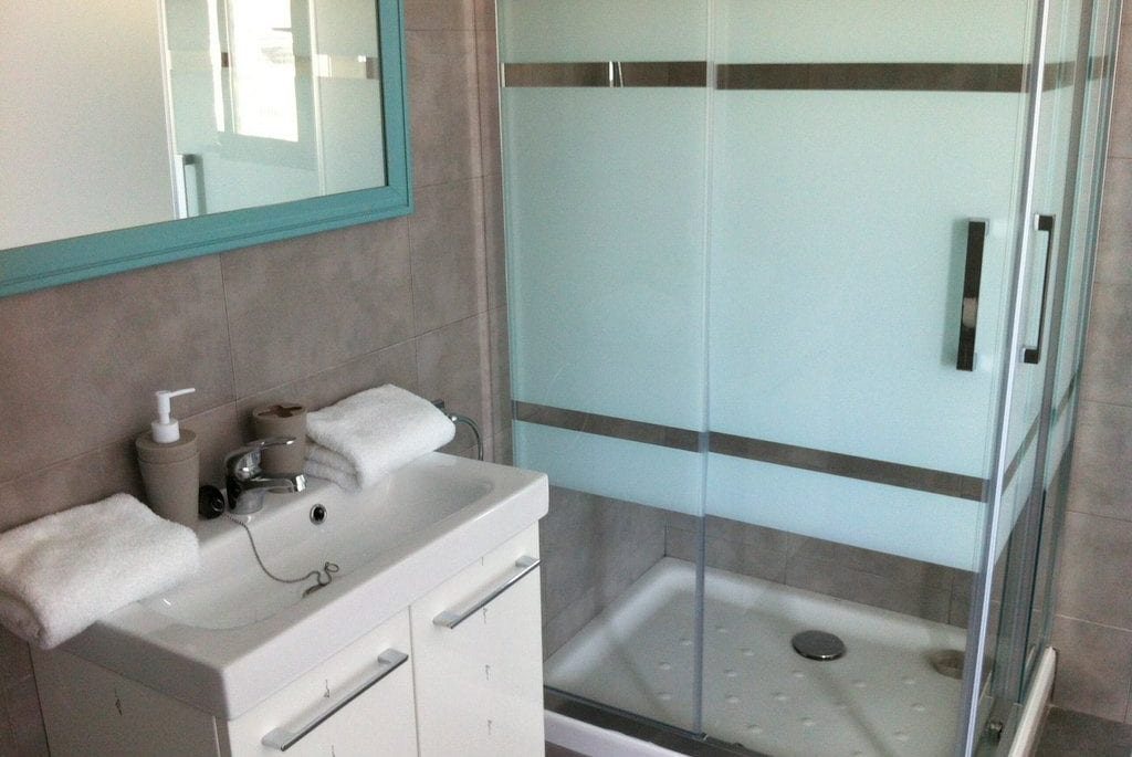 Large modern glass shower and basin