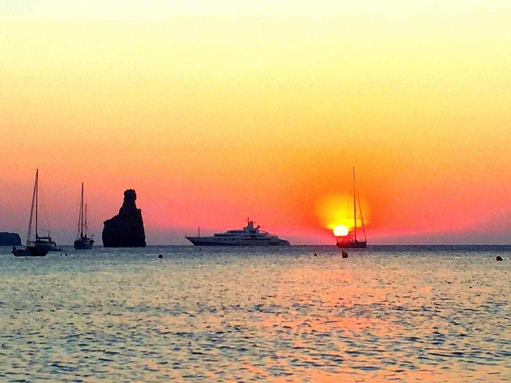 sunset at benirras beach ibiza