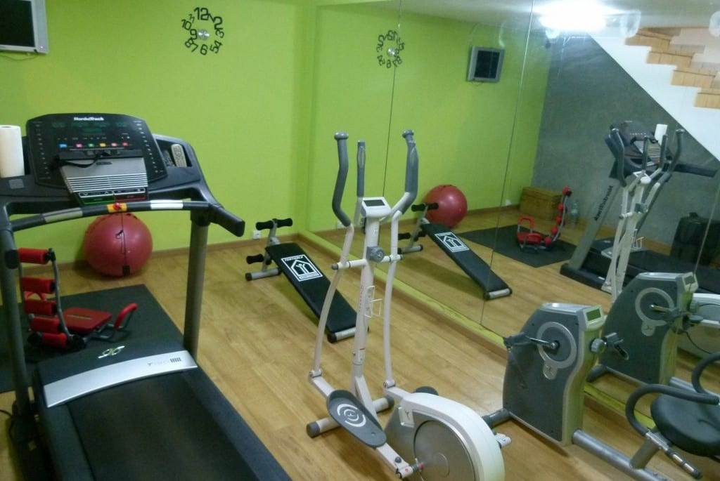 Small gym with running equipment