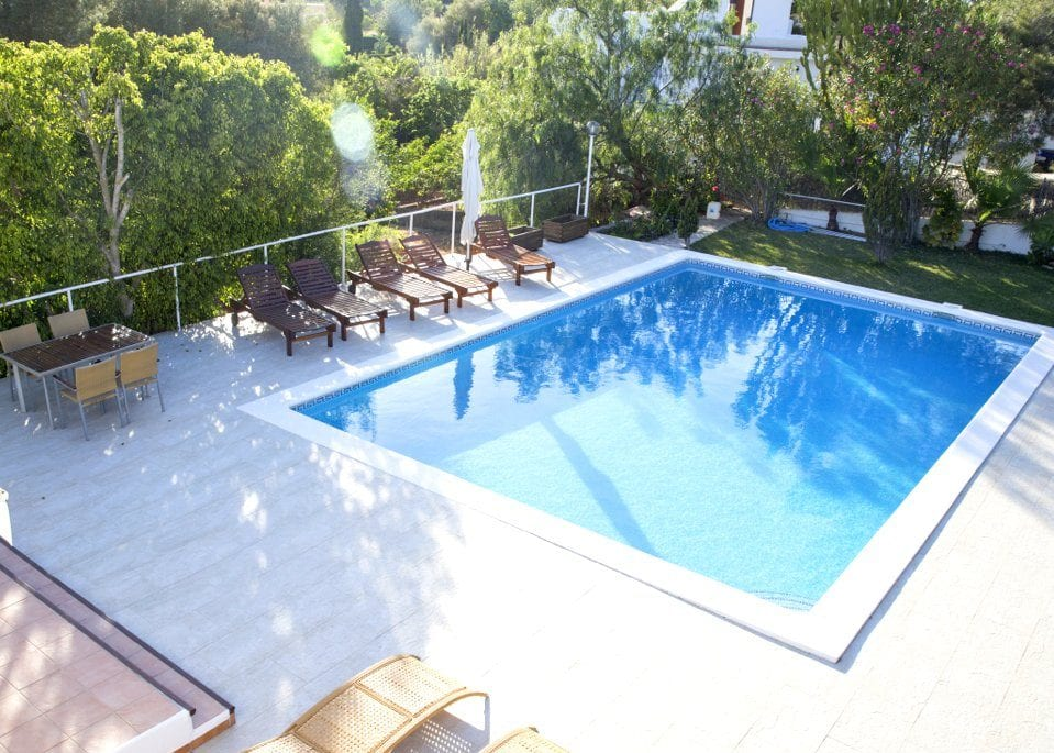 View of Private Pool taken from upstairs balcony