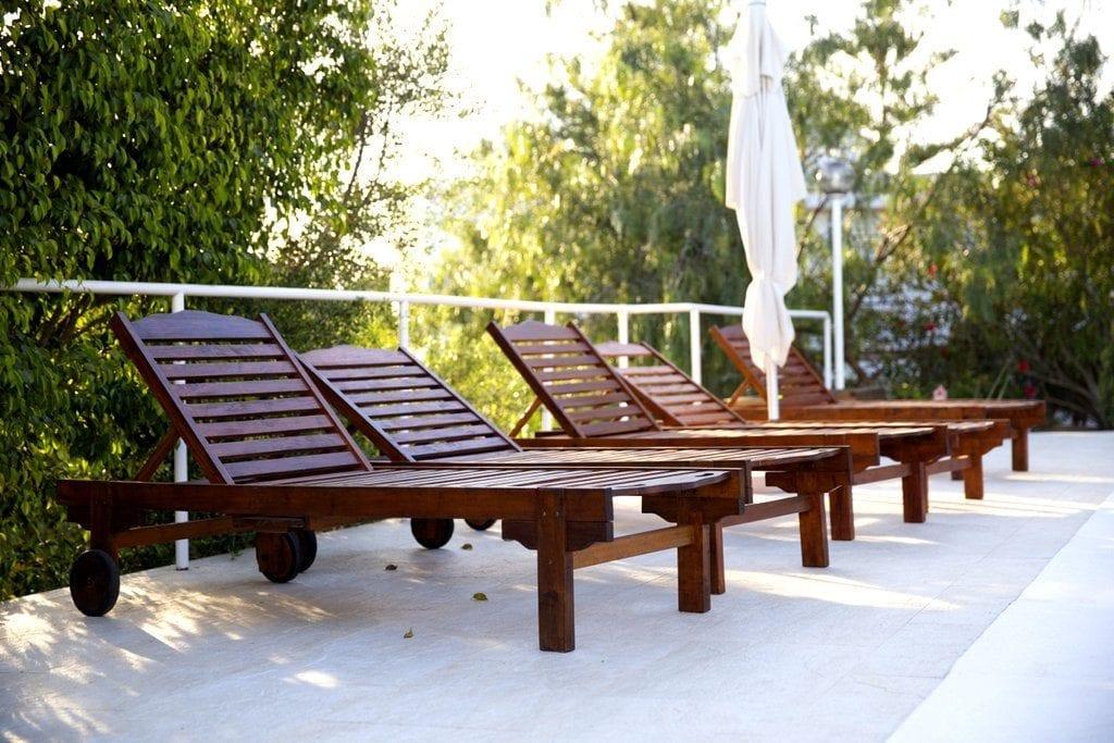 Wooden Pool Loungers at Villa Louisa