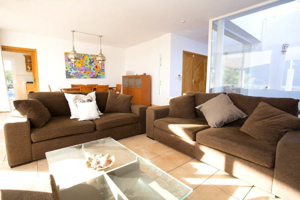 Large Lounge with two large sofas and Moroccan lights