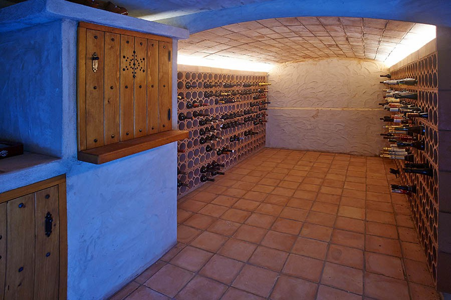 wine cellar below the luxury villa